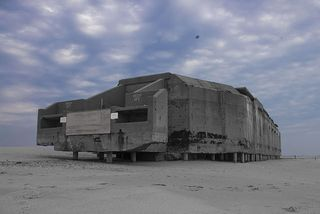 Abandoned cape may concrete WW2 bunker