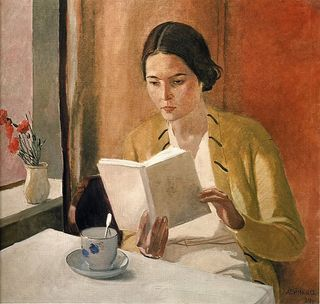 Woman-reading-alexander-deineka