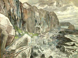 Cliffs and waterfall Caesaig E. Bawden 1950